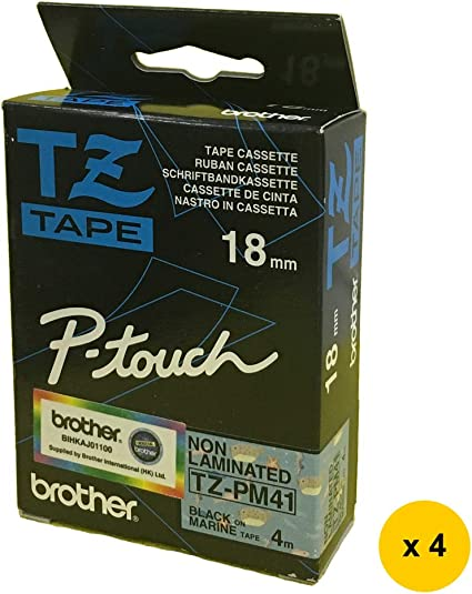 - Black on Marine 4pcs Brother TZ-PM41 Non-Laminated 18mm Tape Cassette SALE