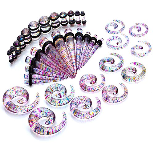 BodyJ4You 36PC Gauges Kit Ear Stretching 8G-00G Glitter Multicolor Acrylic Spiral Taper Plug Piercing