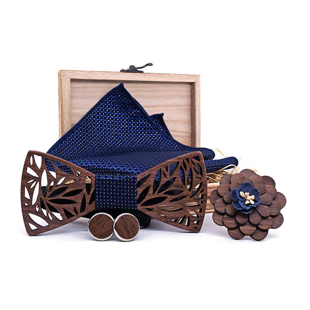 Kaibaoxi Classic Handmade Mens Wood Bow Tie with Matching Pocket Square Mens Cufflinks Lapel Flower Set