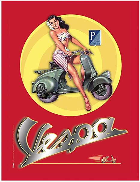 Blechschild Motorroller Vespa mit Pin up Girl