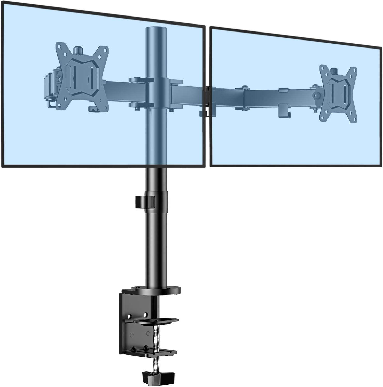 """ErGear Dual Soporte de Monitor para pantallas 13""""-32"""" con Construcción Robusta Altura ergonómica con Inclinación ajustable ±85º, Giro 180º, Rotación 360º Soporta hasta 8KG VESA 75/100mm"""