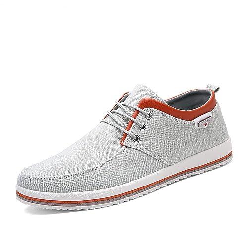 Piatto Espadrillas Sneaker A Morbido Scarpe Passeggio Uomo Comfort Casuale Tela Leggero Bianco Custome qwvZItz0