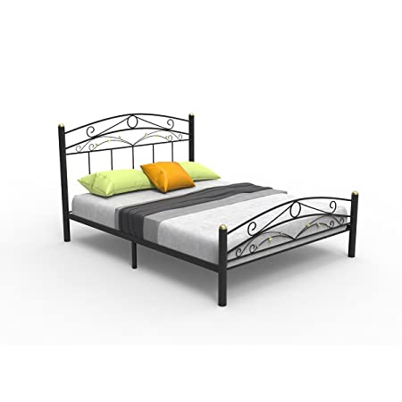Forzza Casa Metal Queen Size Bed (Black)