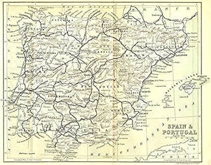 Map Of Spain Old.Amazon Com Spain Eastern Pyrenees Spain Portugal 1889 Old