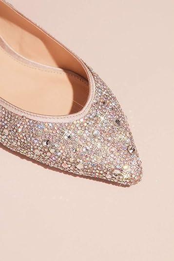 2c57f5d31 Amazon.com   David's Bridal Allover Crystal Almond-Toe Flats Style SBJUDE,  Nude, 8   Flats