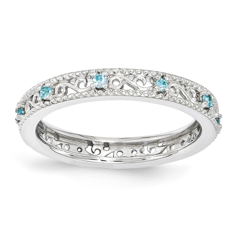 Top 10 Jewelry Gift Sterling Silver Stackable Expressions Blue Topaz Ring