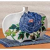 ware 1305 - Jpanese traditional ceramic Kutani ware. Ikebana flower vase. Kissho peony. With wooden box. ktn-K5-1305