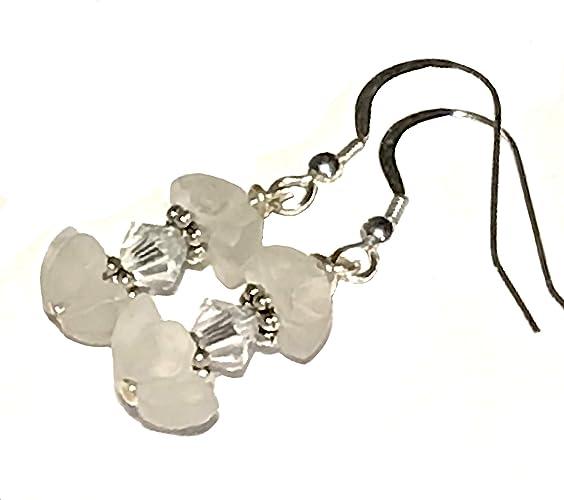 c9878f5b8 Crystal flower earrings; Thumbelina Princess earrings; Lovely artisan small  earrings; Natural quartz & Swarovski earrings; Sterling silver earwire;  Handmade ...