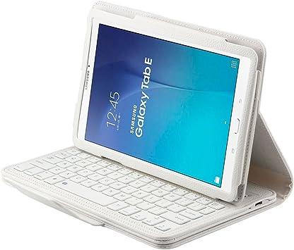 Funda de teclado inalámbrico para Samsung T560/T561, funda de teclado Bluetooth para Galaxy Tab E 9.6, funda de piel con teclado desmontable para ...