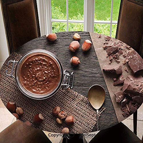 Spillproof Elastic Edged Tablecloths for Round Tables 47 Inch,Natural Chocolate Cocoa Cream Image Rustic Style Image Cafe Home Art Design Wooden Surface Indoor Outdoor Camping Picnic Circle Table Cl