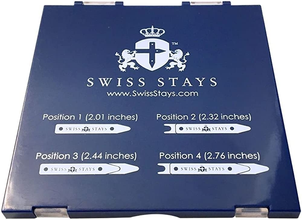 6 Total BRASS Collar Stays By SWISS STAYS Adjustable Collar Stay System Set NEW