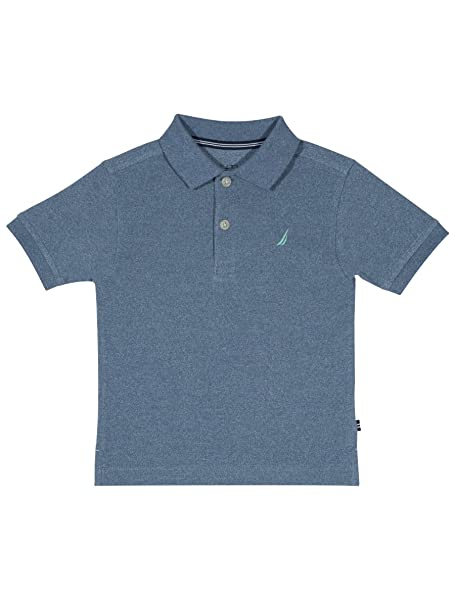 7e571f0fdcf0a1 Nautica Boys' Short Sleeve Deck Marl Polo Shirt, Seacoast Medium Blue, 2  Years