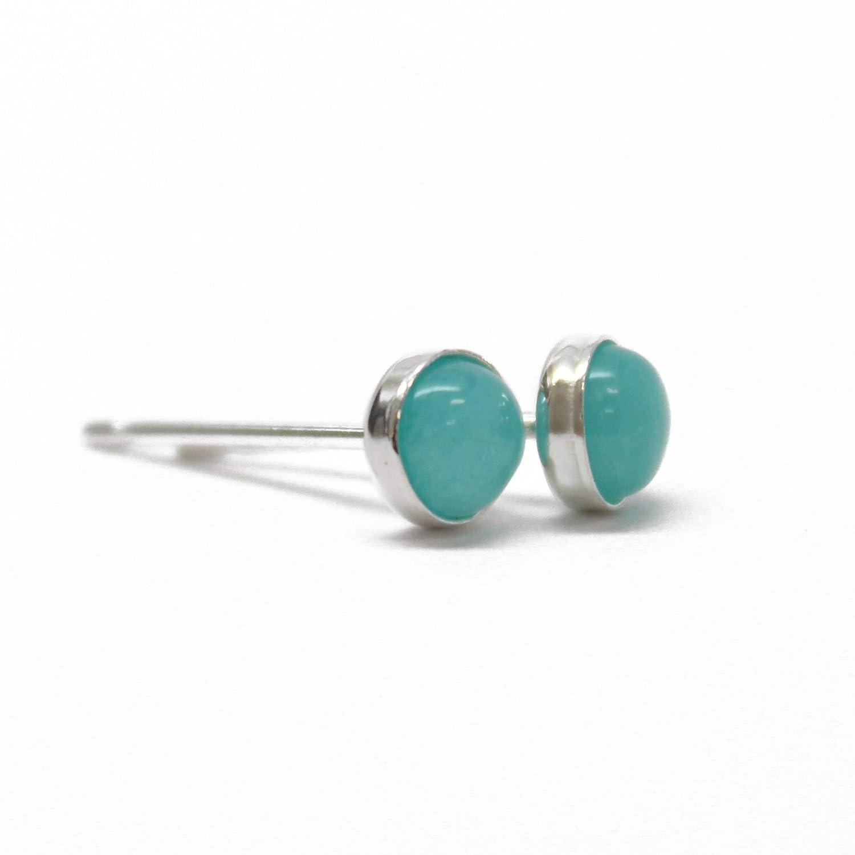 silver earstud 6 mm studs amazonite studs amazonite earposts small stud post Amazonite Dome Earrings cute 6mm gem post blue earstuds