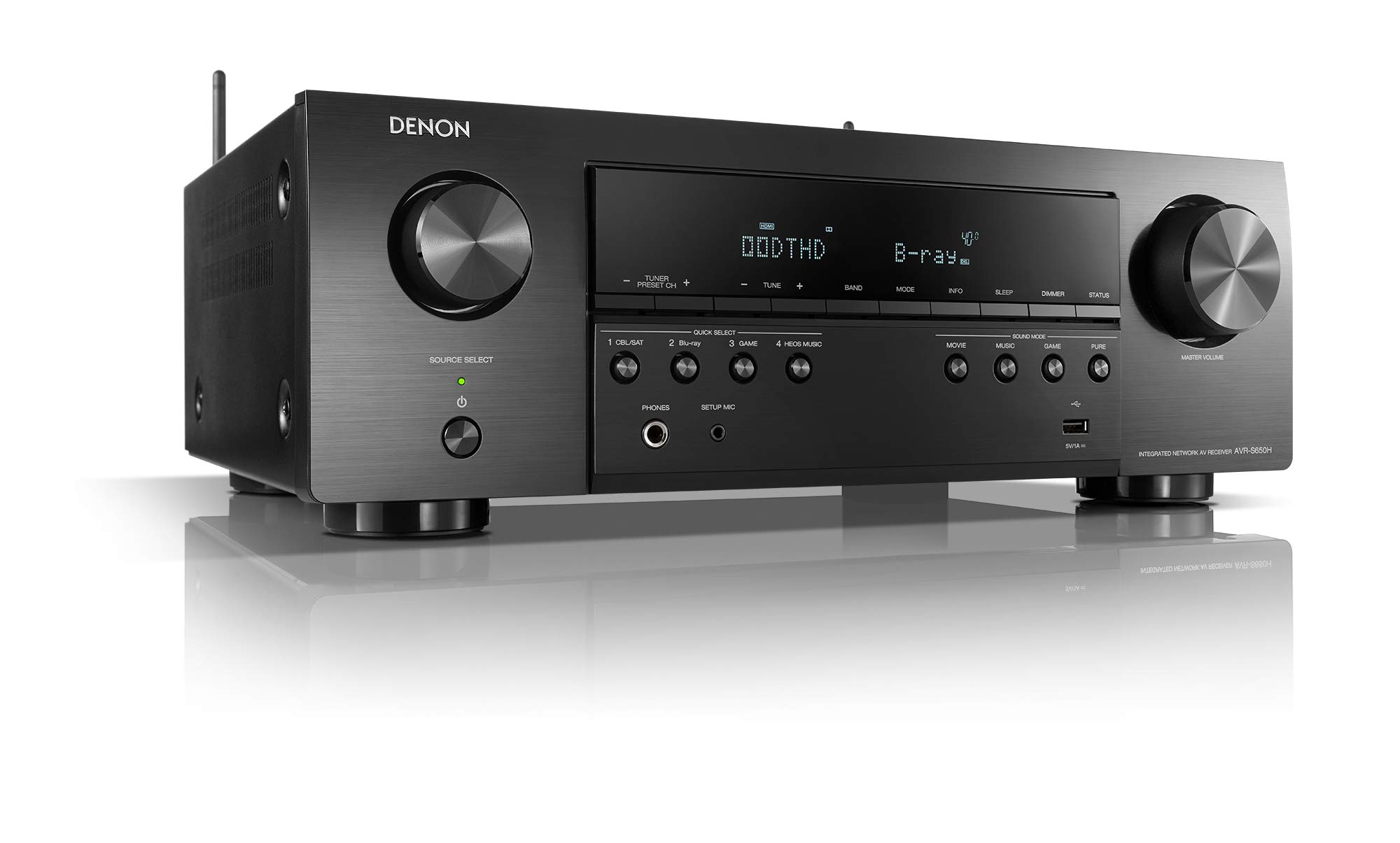 Denon AVR-S650H Audio Video Receiver, 5.2 Channel (150W X 5) 4K UHD Home Theater Surround Sound (2019)   Music Streaming   Wi-Fi, Bluetooth, AirPlay 2, Alexa, HEOS Built-in   eARC and Upgraded HDCP