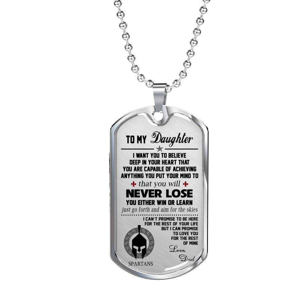 Luxury Birthday Gifts for Daughter Spartans Warriors Dad /& Daughter Necklace Pendant My Daughter Necklace Dog Tag Personalized Teen Girls