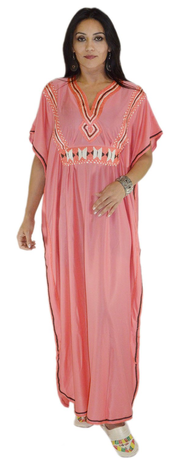 Moroccan Caftans Women Breathable Handmade with Embroidery Coverup Loungewear Ethnic Design Coral