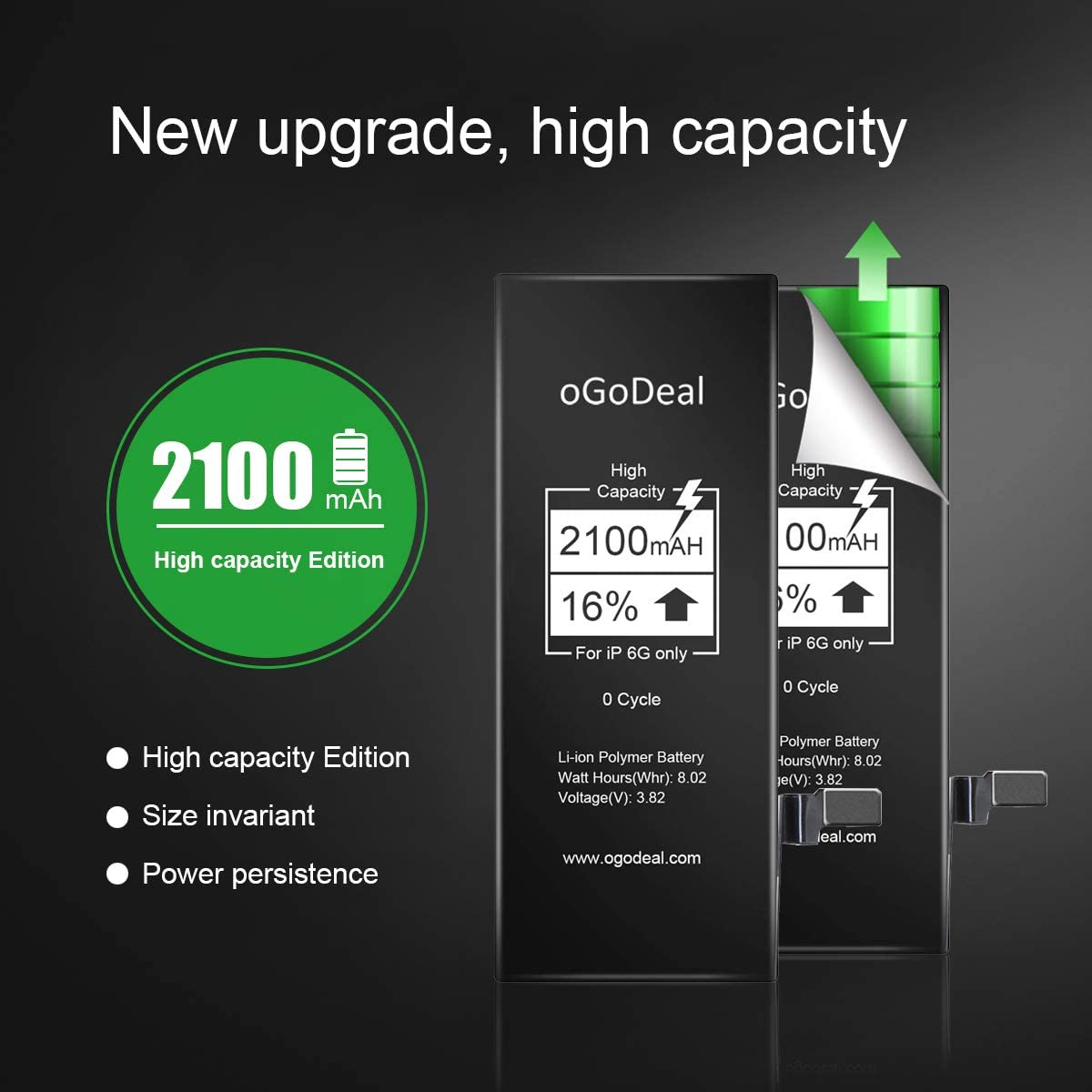 oGoDeal Battery Replacement for iPhone 5 High Capacity 1800mAh ...