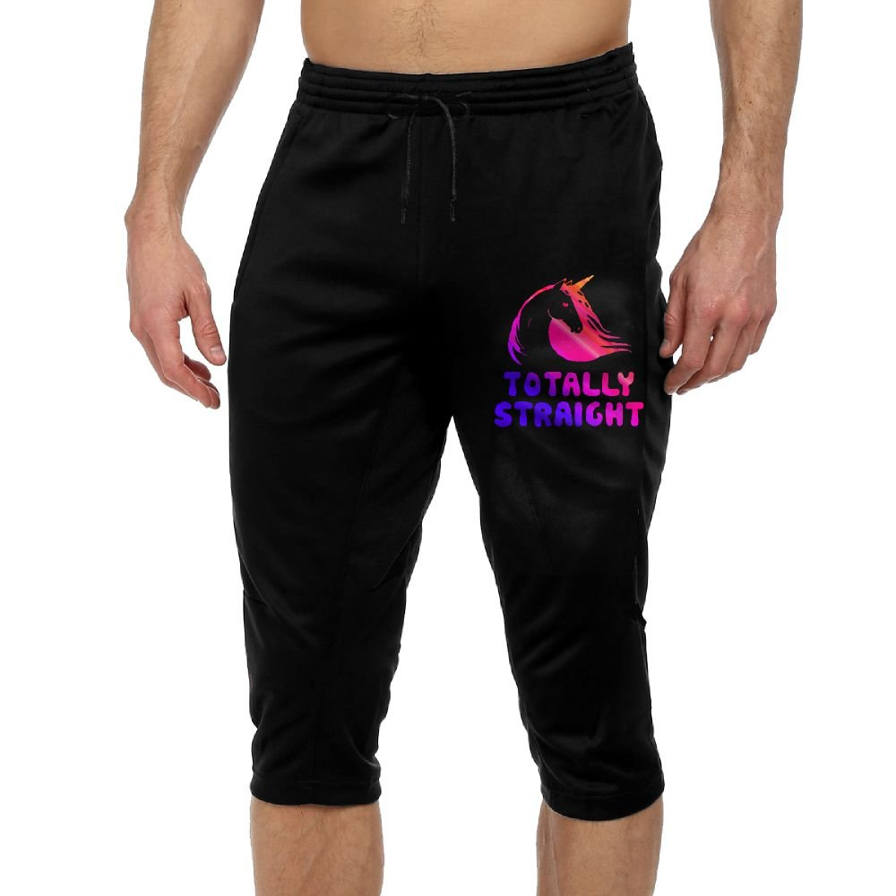BigManPants Totally Straight Unicorn Exercise Men's Vintage Casual Durable French Terry Knee Pants by BigManPants