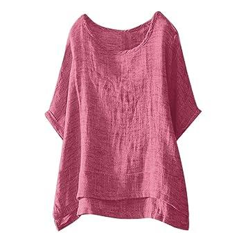 Damen Baggy Oberteile Tunika Frauen Sommer Freizeit T-shirt Lose Tops Blusen DE