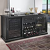 Siena Mezzo Black and Walnut Wine Credenza - Nero, Italian Design Wine Storage