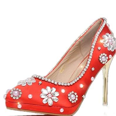 Szxc Frauen Blumen Perle Rot Gericht Schuhe Glitzer Wunderschone
