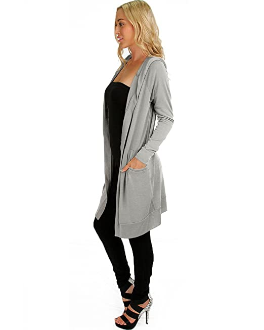 Lyss Loo Women's Long-line Hooded Long Sleeve Cardigan Top With ...