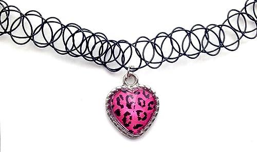 Leopard Print Pink Herz Tattoo Choker Charm Stretch Halskette