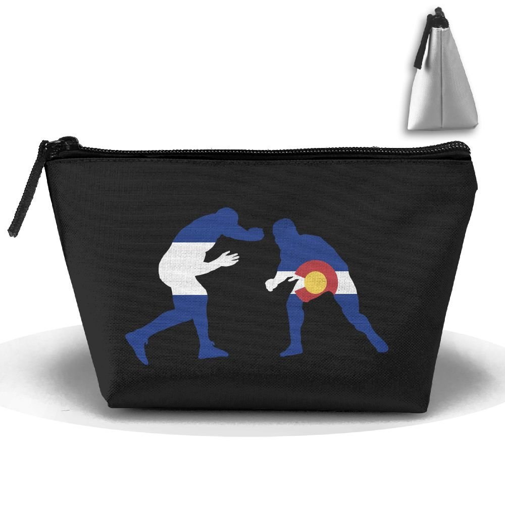 GQOP Cosmetic Bag Colorado Flag Wrestling Lover Clutch Bag Portable Pouch Bag