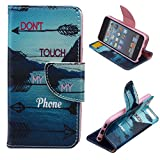 LEECO iPod Touch 5 6th Case,Fashion Synthetic PU Leather Wallet Type Magnet Design Flip Stand Case Cover for Apple iPod Touch 5 6th Generation + Send 1 Stylus Pen(Stream)
