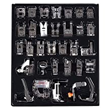 BABAN 32 Pcs Sewing Machine Presser Foot Set Accessory for Janome Brother Singer