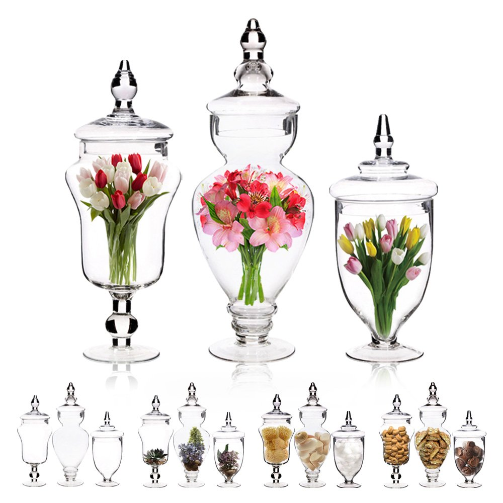 Emenest Clear Glass Apothecary Jars with Lids, 3 Pack Kitchen Canisters, Bathroom Organizers, Candy Buffet, Decorative Display, Party and Wedding Centerpiece