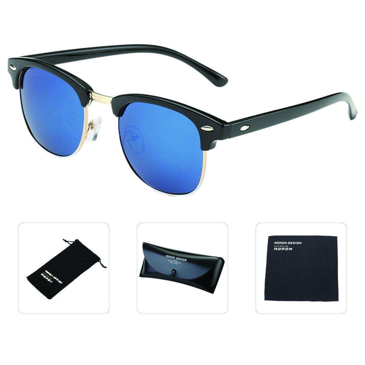 Forvery Polarized Lens Sunglasses for Men Women Sport Semi Rimless Mirror for Fishing Wayfarer (Black, Ice Blue)