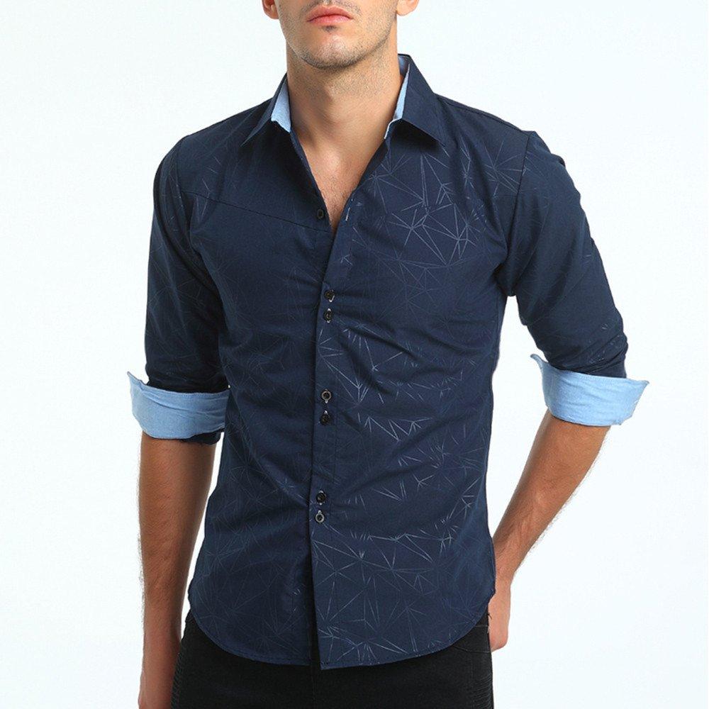 Camisa manga larga para hombre,Sonnena ❤ Camisa formal casual otoño de los hombres con la impresión Camisa de manga larga Slim Fit Blusa superior: ...