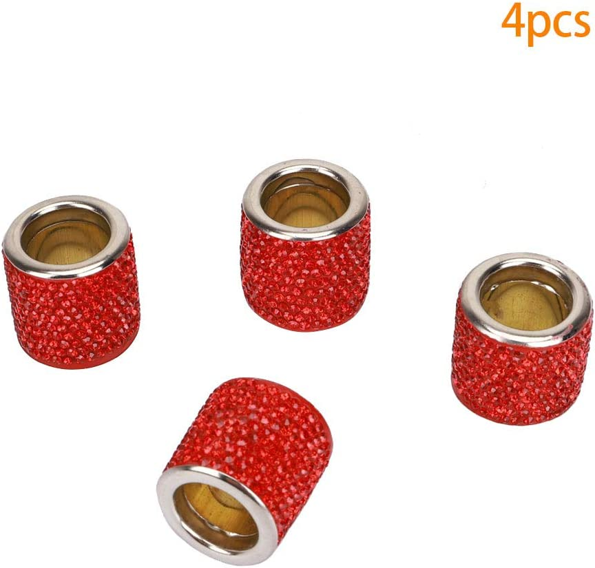 4pcs Car Headrest Collars Car Headrest Collars Rings Decor Bling Bling Bling Crystal Diamond Ice For Car Suv Truck Interior Decoration Red Auto