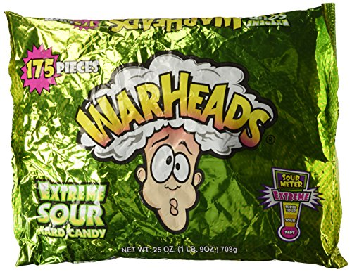 Warheads Extreme Sour Hard Candy 175 Pieces Assorted Flavors - 25 oz bag ()