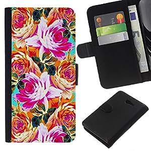 All Phone Most Case / Oferta Especial Cáscara Funda de cuero Monedero Cubierta de proteccion Caso / Wallet Case for Sony Xperia M2 // Orange Pink Teal Flowers