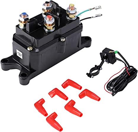 12V 250A Electric Winch Solenoid Relay Rocker Switch with Caps For ATV UTV Truck