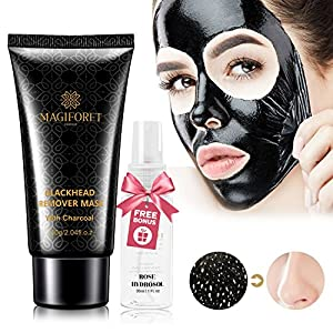 Black Mask, Blackhead Peel Off Mask, Blackhead Remover Mask, MagiForet Purifying Peel-off Mask Deep Cleansing Charcoal Mask For Face Nose Acne Treatment Oil Control 60g Rosewater Spray 30ml