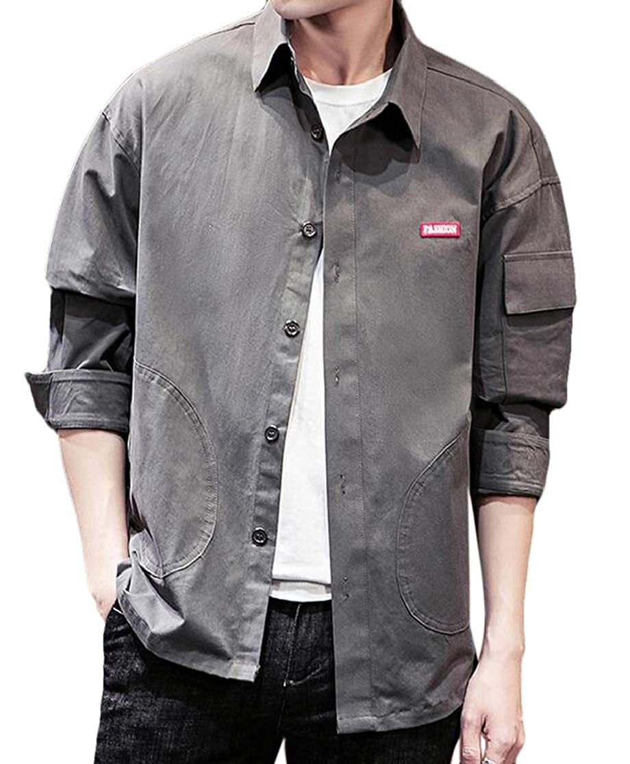 BU2H Men Relaxed fit Solid Color Wild Pockets Long Sleeve Button Down Shirt