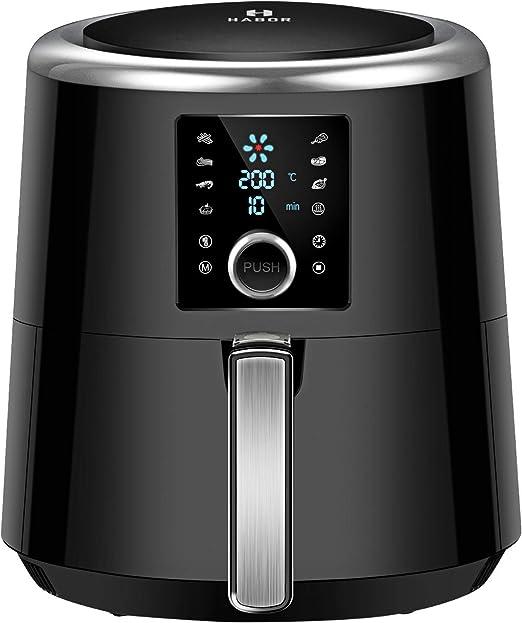 HABOR Freidora sin aceite, Freidora de aire caliente de 3.6L, 1500 W, Sistema de protección contra sobrecalentamiento, Pantalla LED grande, Temperatura y tiempo ajustable, Ebook de recetas incluido: Amazon.es: Hogar