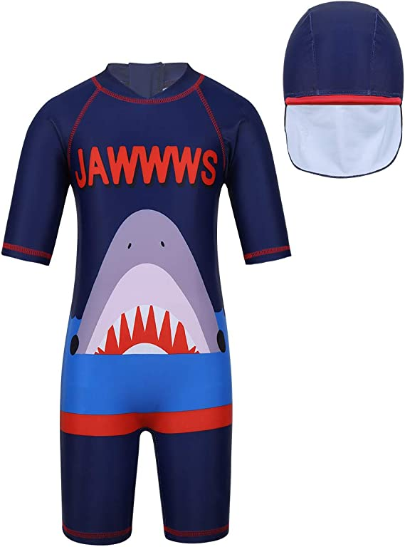 Kikibaby Boys Two Piece Shark Rash Guard Swimsuits Kids Short Sleeve Sunsuit Swimwear Sets