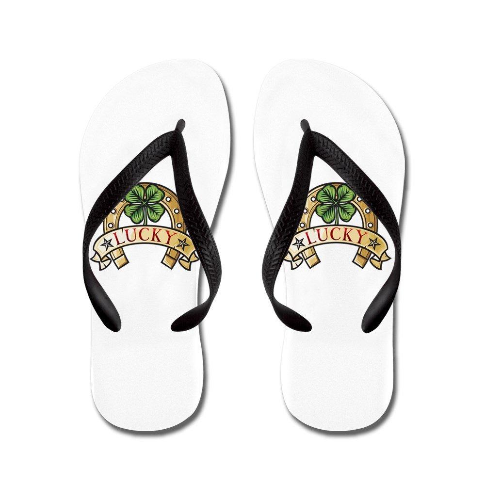 Truly Teague Kids Lucky Horseshoe with Four Leaf Clover Rubber Flip Flops Sandals KDFLFLPLHSWFLCLOV-MAR2017