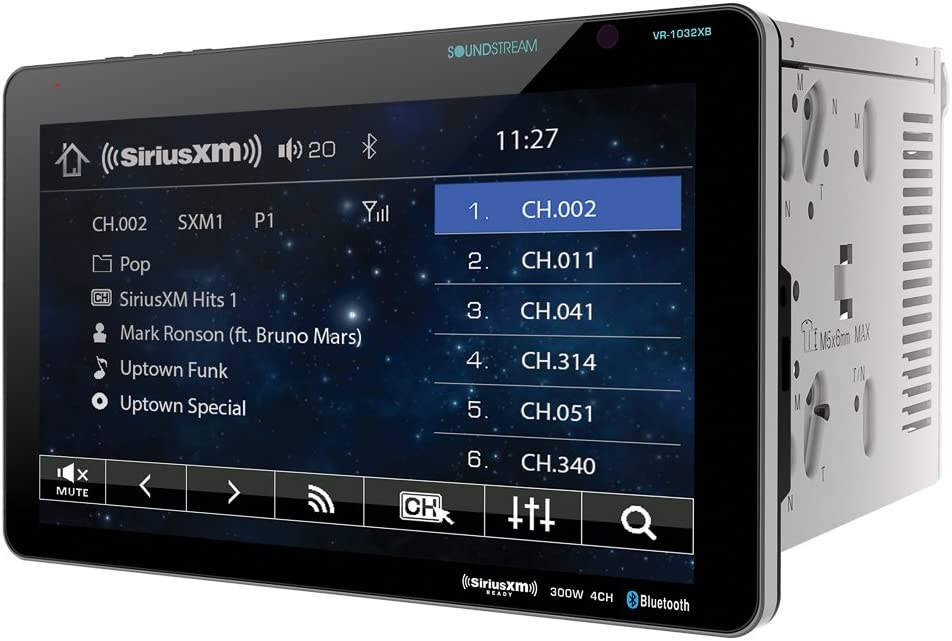 Soundstream VR-1032XB Double DIN SiriusXM Ready Bluetooth in-Dash DVD//CD//AM//FM Car Stereo Receiver with 10.3 Touchscreen