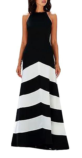 86cf48fd1543 HX fashion Donna Vestiti Tubino Eleganti da Cerimonia Lunghi Estivi  Cerimonia Vintage Bianco E Nero A