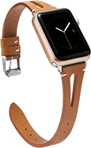 Wearlizer Brown Leather Compatible with Apple Watch Bands 38mm 40mm for iWatch SE Womens Mens Special Triangle Hole Straps Wristband Cool Replacement Bracelet (Metal Silver Buckle) Series 6 5 4 3 2 1