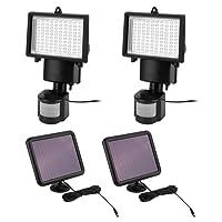 Paquet de 2 Projecteurs Solaires 100 LED avec Détecteur de Mouvement Lumière Blanc Froid 6000K Lampe de Sécurité Eclairage pour Patios, Balcons, Terrasses, Garages, Jardins, Couloir, etc