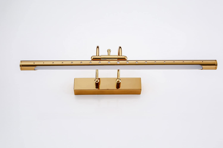 10W 61cm Apliques de Pared Led Lampara de Espejo Acero Inoxidable 180 /°/Ángulo ajustable para dormitorio armario pasillo Luz Blanca C/álida