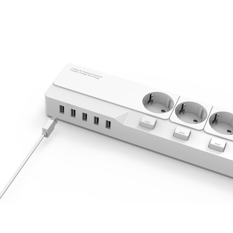 DREVO DP45 European Standard Protection Strip Multiprise Parasurtenseur avec 4 Connecteurs de Sortie 5Ports USB 4 Prise 5 USB, Black