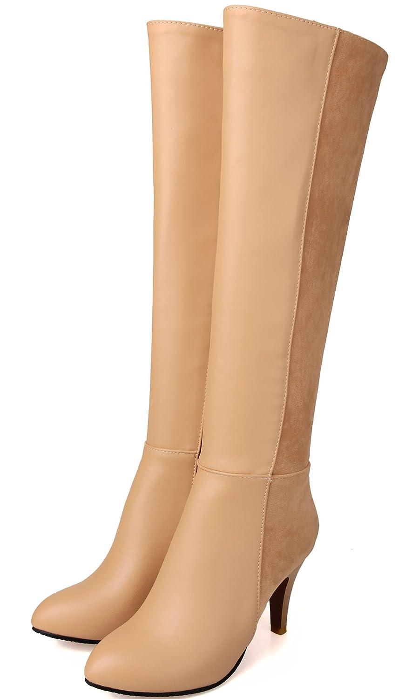 BIGTREE Knie Hohe Stiefel Damen PU Leder Casual Reißverschluss Blockabsatz Herbst Winter High Heel Reitstiefel von Schwarz 33 EU XgqO5NA