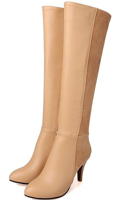 BIGTREE Knie Hohe Stiefel Damen PU Leder Casual High Heel Herbst Winter Warme Plateau Lange Stiefel von Schwarz 39 EU blYf2vH6E